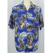 Hilo Hattie Hawaiian Camp Aloha Palms Hibiscus Ukelele Blue Shirt Men Si... - $23.38