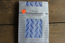 Vintage NWT Sharon Lace Pantyhose P/M 100-140lbs Blue - $23.76