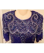 Vintage Sequin Blue two piece evening blouse an... - $19.79