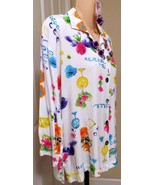 Tropical button down long Ladies top Paradiso purple flower necklace set... - $20.00