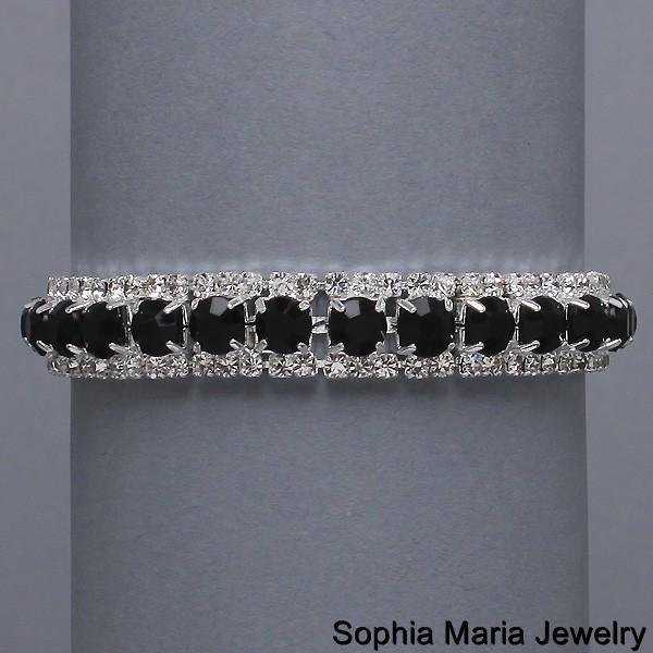 Black Crystal Rhinestone Wedding Prom Formal Bracelet fashion costume jewelry
