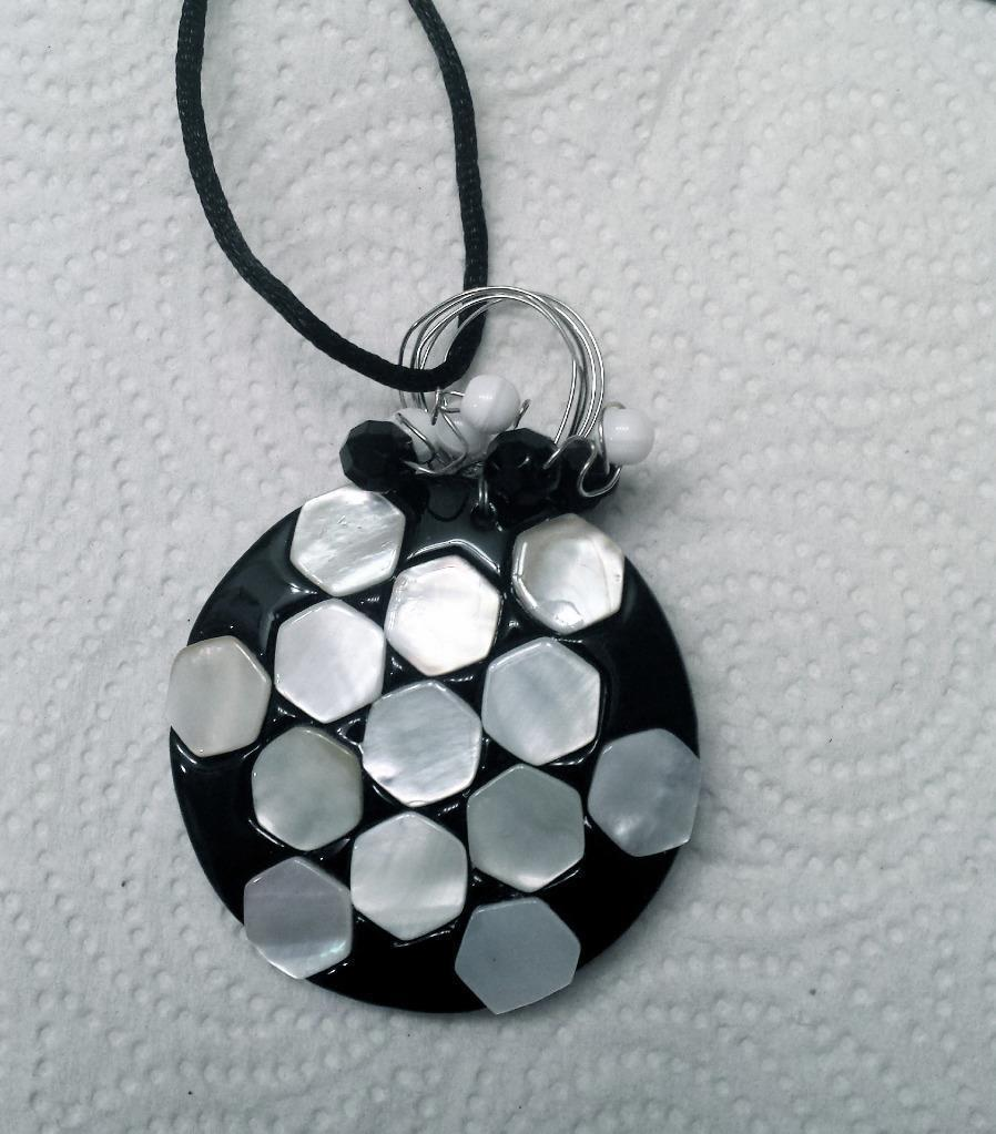"Black and white circle wire wrapped pendant beaded 28"" long"