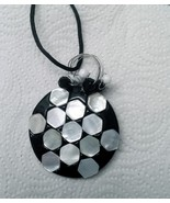 """Black and white circle wire wrapped pendant beaded 28"""" long - $14.85"""