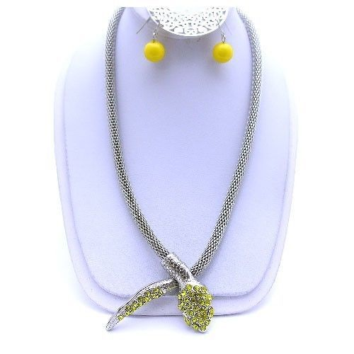 Yellow mesh snake long necklace set