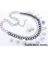 Charm Necklace Set White Pearl Clear Crystals B... - $16.82