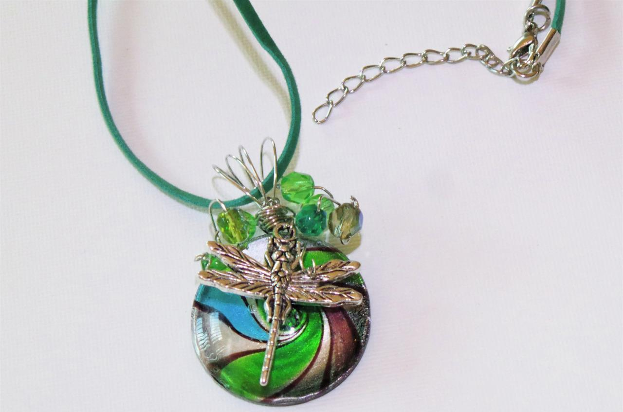 wire wrapped art glass with dragonfly charm bead accents suede green cord