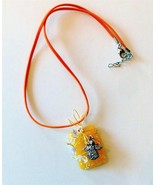 wire wrapped angel charm on bright yellow pendant crystal accents orange... - $9.89