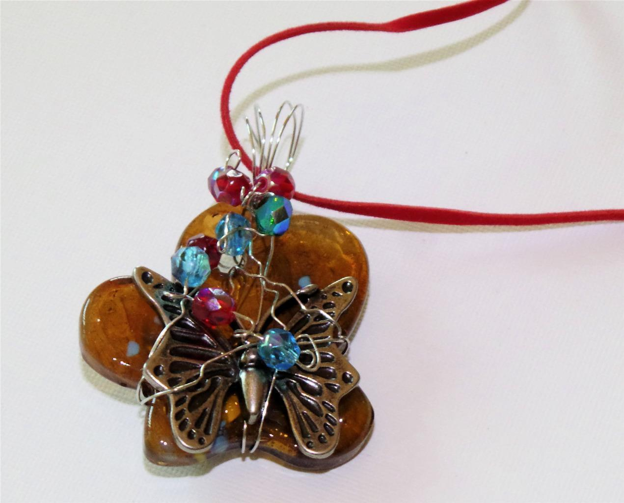Brown butterfly art glass pendant butterfly charm wire wrapped crystal accents