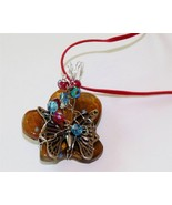 Brown butterfly art glass pendant butterfly cha... - $12.86