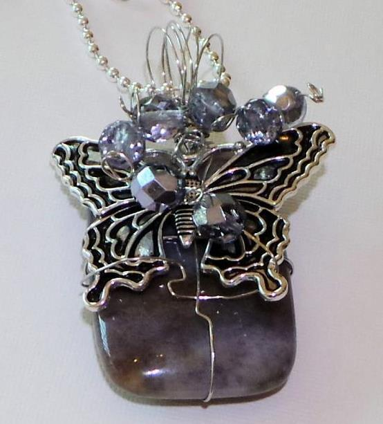 """Gray stone butterfly charm wire wrapped crystals on 925 silver ball chain 20"""""""