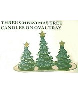 Candle 3 Xmas Tree Candles On Oval Tray - $12.04