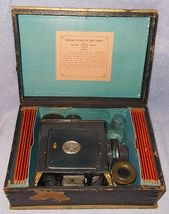 Antique German E P Magic Lantern Projector Slides and Box  Ernst Plank ca 1879 - $225.00