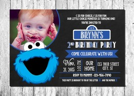 Cookie Monster Personalized Printed Photo Birthday Invitations - $10.00