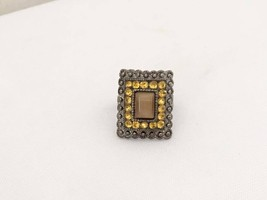 Vintage Jewelry Yellow Rhinestone & Cat's Eye Adjustable Ring Size 6.5 - $12.00
