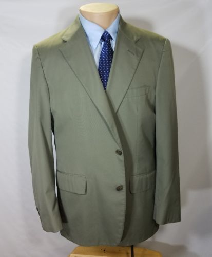 VINTAGE BROOKS BROTHERS MEN'S SPORT COAT OLIVE GREEN WOOL 2 BUTTONS BLAZER EUC