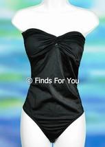 J Crew Twist Bandeau One Piece Swimsuit Bathing Suit Sz 10 Style 85580 Black - $27.59
