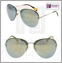 Miu Miu 53P Aviator Sunglasses So Frame Pale Gold Emerald Green Mirrored MU53PS - $263.34