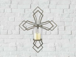 Contemporary Iron Cross Wall Sconce with Hurricane Glass Pillar Candle H... - $34.60
