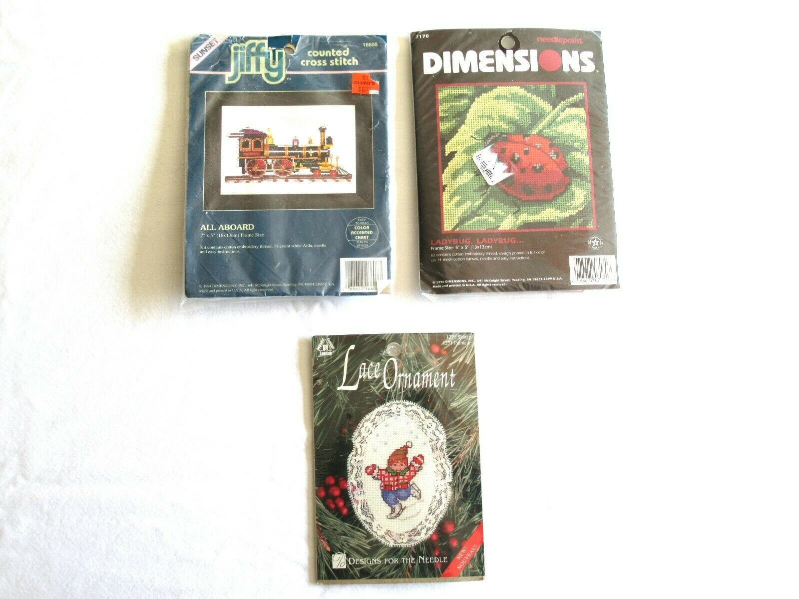 Primary image for LOT Dimensions LADYBUG Needlepoint Jiffy Train all Aboard Cross Stitch Ornament