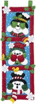 Bucilla Felt Applique Wall Hanging Kit-See No Evil Snowmen - $31.23