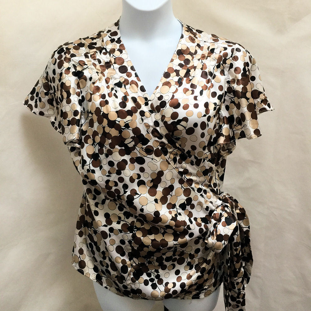 cef08505d71 57. 57. Previous. Cato Plus Size 22W 24W Wrap Top Brown White Polka Dot  Silky Flutter Cap Sleeves