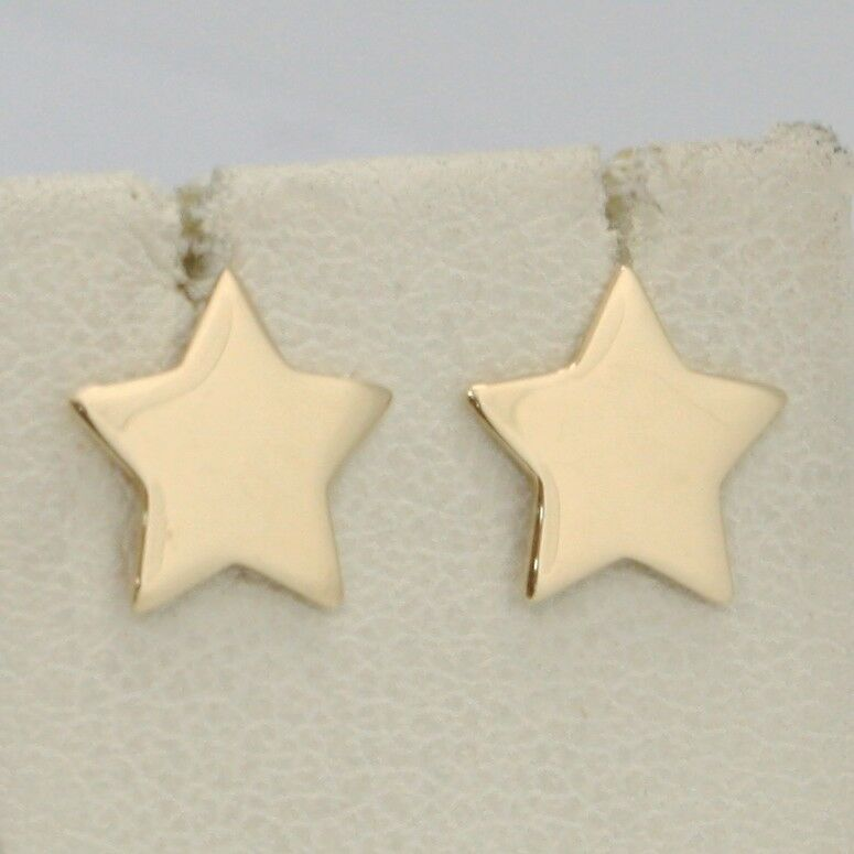 SOLID 18K YELLOW GOLD EARRINGS FLAT STAR, SHINY, SMOOTH, 10 MM, MADE IN ITALY