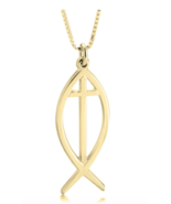 CROSS FISH NECKLACE: STERLING SILVER, 24K GOLD, ROSE GOLD - $85.49