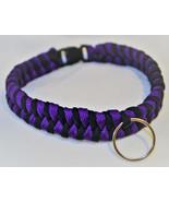 Paracord 550 Dog Collar Purple and Black Fish Tail Design Black Quick Re... - $15.00