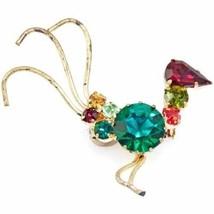 Vintage Brass Bird Brooch  Pin Prong Set Rhinestones Colorful 1950'S - $8.23