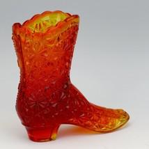 Vintage Fenton Art Glass OR Orange Amberina Daisy & Button Victorian Boot image 2
