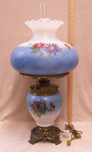 Vintage Antique Gas Lamp Converted Electric Blue Floral Hand Painted Fostoria - $494.99