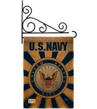 Navy Burlap - Impressions Decorative Metal Fansy Wall Bracket Garden Fla... - $36.97