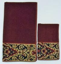 RALPH LAUREN Vintage BATH & HAND TOWEL Maroon Tan Floral Swirl Design Ma... - $59.95