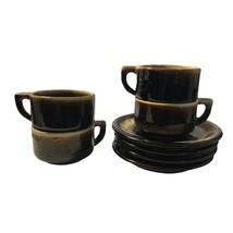 Set Of 4 Vintage Pfaltzgraff Brown Drip Stoneware Mug Cups and Saucers - $27.58