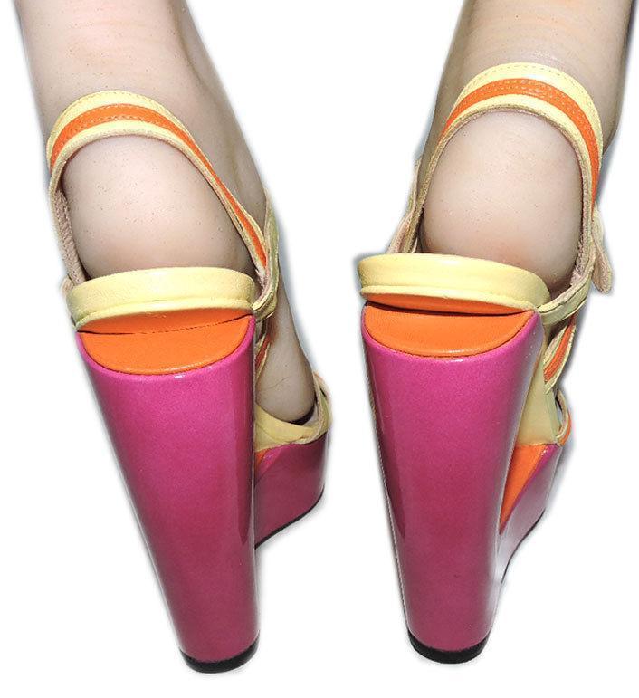 Stuart Weitzman Cut Out Pink Wedge Sandals Color Block Slingback Shoes 10 image 6