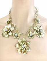 Golden Statement Flowers Necklace Earrings Rhinestones Drag Queen Casual... - $24.70
