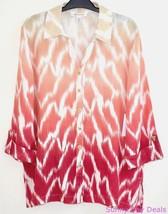JM Collection Womens Shirt Linen Collar Button Front 3/4 Sleeve Blouse Macys 6 - $27.67