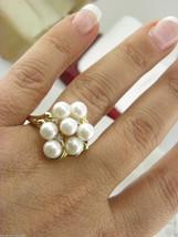Perle & Naturel Diamants Serti Bague 14k or Blanc Sz10 - $290.29