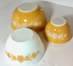 Butterfly Gold Pattern 3 Pieces Pyrex Nesting Mixing Bowls 403, 402, & 401 - $37.23