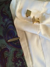 Vintage Hickok Rectangle Cufflinks & Brushed Oval Tie Clasp ENGRAVEABLE ... - $7.99