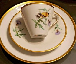 Vintage Hutschenreuther China Tea Cup Saucer Snack Plate Thistle Gold Finch Bird - $33.25