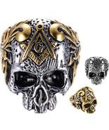 Masonic Skull Ring Gold Silver Skeleton Mens Biker Stainless Steel Sizes... - £9.44 GBP