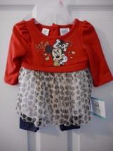 Girls Minnie Mouse Long Sleeve Shirt W Denim Pants Size 0/3 Months NEW - $14.84