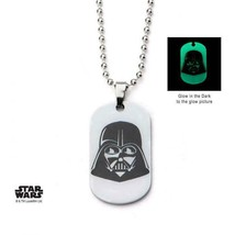 Disney Star Wars Stainless Steel Glow in the Dark Darth Vader Dog Tag Pe... - $17.85