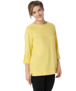 Denim & Co. Large Active French Terry 3/4 Sleeve Tunic Shirt Top Sun Yellow L - $13.99