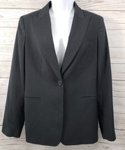 Calvin Klein Blazer Sz 8 Women Black Pin Stripe Single Button Suit Jacket - $16.55