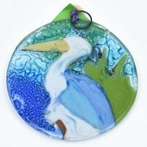 Blue Heron Aquatic Bird Fused Art Glass Ornament Sun Catcher Handmade Ecuador image 2