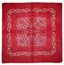 "22""x22"" Red Paisley Design #2 100% Cotton Bandana - $6.88"