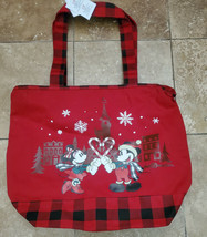 NWT Walt Disney World Canvas Mickey Minnie Red Buffalo Plaid Holiday Tote Bag - $24.70