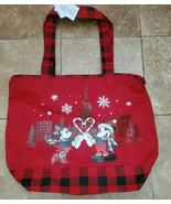 NWT Walt Disney World Canvas Mickey Minnie Red Buffalo Plaid Holiday Tot... - $24.70